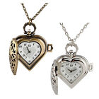 NEW WOMEN HOLLOW HEART-SHAPED PENDANT LONG CHAIN NECKLACE POCKET WATCHES