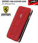 Ferrari 458 Real Leather Flip Case for Apple iPhone 6/6S Plus Red