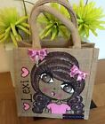 Unique Personalised Hand Painted Jute Bag School Shopping Bag Gift Birthday
