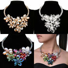 Fashion Charm Chain Clear Crystals Flowers Chunky Statement Bib Choker Necklace