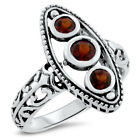 GENUINE GARNET 3 STONE ANTIQUE STYLE 925 STERLING SILVER RING,              #856