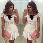 Fashion Women Elegant Lace Short Sleeve Dress Party Cocktail Evening Mini Dress
