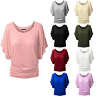 Fashion Women Batwing Short Sleeve Casual T-shirt Cotton Tops Blouse Loose Tee