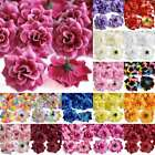 50pcs Roses Artificial Silk Bridal Flower Heads 50mm Clips Wedding Decoration