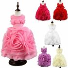 3D Flower Girl Dress Sleeveless Round Beads Neck Special Costume Princess Party