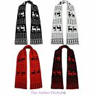 LADIES UNISEX MENS CHRISTMAS XMAS KNITTED REINDEER REVERSIBLE SCARF SCARVE
