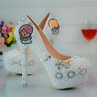 Angel Pearl White Girl Boy Wedding Ball Club Shoe High Heels Party L