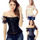 Sexy Womens Short Sleeves Corset Bustiers Tops Lace Waist Cincher Tshirt Shaper