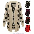 WOMENS HEARTS PRINT KNITTED OPEN CARDIGAN LADIES JACKET JUMPER PLUS SIZES 16-26