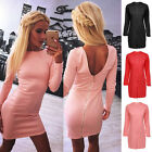 Women's Backless Ziper Bodycon Evening Party Cocktail Short Mini Dresses Tide S