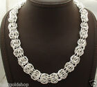 """Bold Shiny Byzantine Chain Necklace Real Sterling Silver QVC 18"""" 20"""" 49.8gr"""