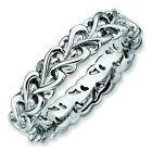 Woven Heart 4.5mm Thick Band Sterling Silver Stackable Ring