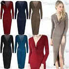 Womens Slinky Jersey Deep Plunge Neck Middle Ruched Midi Bodycon Fit Dress Top