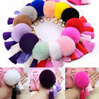 Handbag Charm Key Ring Rabbit Fur Ball PomPom Cell Phone Car Pendant Keychain