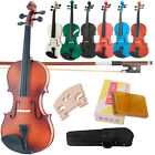 New Natural Black 4/4 3/4 1/2 1/4 1/8 Size Acoustic Violin Fiddle with Case Bow