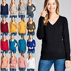 Women's Wide Band V-Neck Long Sleeve Jersey Top Soft Stretchy Tee T-Shirt #8940