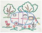 Embroidered 28x28 Flour Sack Kitchen Towel HAPPY CAMPERS Campers Tents 6 Choices