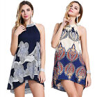 Women Sexy Boho Floral Sleeveless Halter Beach Short Mini Dress Cocktail Club