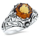 ART NOUVEAU ANTIQUE STYLE LAB CITRINE 925 STERLING SILVER RING,             #890