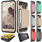 Slide Card Pocket ShockProof Rugged Hybrid Wallet Case Cover For Samsung Galaxy