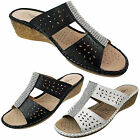 Cushion Walk Ladies Leather Insock Silver Diamante Wedge Slip On Mules Sandals