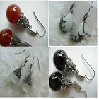 Red Black Agate Onyx Cat Eye Dark Crystal Tear Drop Silver Dangle Earrings