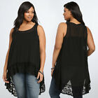 Fashion Summer Women Ladies Sleeveless Loose Lace Blouse Tops Shirt Plus Size