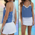Sexy Women Floral Lace Strappy Loose Crop Blouse Tops Tank Cami Vest Camisole