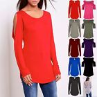 Womens Curved Hem Top Ladies Cold Cut Out Shoulder Jersey Keyhole Back T Shirt