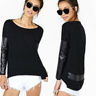 CHIC New Sexy Women Faux Leather Long Sleeve Sweatshirt Casual Loose Blouse Tops