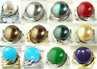 14mm white gray black red yellow red green shell pearl / jade 18 KGP ring