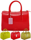 Ladies Jelly Celebrity Clear Neon Transparent Bag Satchel Barrel Womens Handbag
