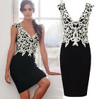 Women Sexy Bodycon Bandage Evening Cocktail Party Sleeveless Lace Pencil Dress