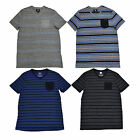 Rock & Republic T Shirt Mens V Neck Striped Tee New Black Gray Blue & Pocket New