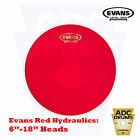 "Evans Red Hydraulic Snare/Tom Batter Head Level 360 Drum Skins (6"" to 18"")"