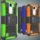 Belt Clip Swivel Holster Rugged Hybrid Phone Cover Case for LG Phoenix 2