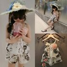 2PCS Toddler Kids Baby Girl Outfits Ink and Wash Floral Shirt Shorts Dress Set
