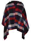 Women Ladies Hooded Check tartan Block Print Knitted Cape Wrap Shawl Poncho 8-14