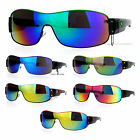 SA106 Mens Color Mirror Lens Shield Warp Racer Sport Warp Sunglasses