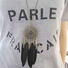 Vintage Bronze Plated Black Feather Leaf Tassel Pendant Long Chain Necklace