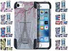 For iPhone 5 5S SE New Design Hybrid Dual Layer T Kickstand Cover Case