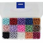 Glass Faux Pearl Beads 15 Color Box Set 4mm 6mm 8mm Free Shipping, Wholesale Lot