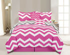 10 Piece Chevron Pink Bed in a Bag w/600TC Cotton Sheet Set