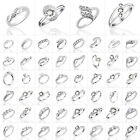 Womens Silver Jewelry Fake Crystal Inlaid Wedding Engagement Banquet Plated Ring