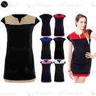 Ladies Celeb Casual Cap Womens Sleeves Contrast Panel Bodycon Shift Tunic Dress