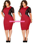 New Women O- Neck Lace Inset  Evening Cocktail Plus Size Party Bodycon Dress