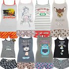 Ladies Summer Vest Womens T Shirt & Shorts Girls Pj Set Uk Size 6 - 20 Primark