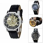 New Men's Fashion Skeleton Automatic Mechanical Leather Strap Band Wrist Watch