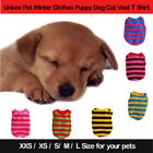 Stripe Winter Puppy Dog Cat Apparel Coral Fleece Soft T-shirt Cool Top Pet j