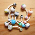 16g Acrylic Hypoallergenic Non Metallic 12mm Belly Bar - White (some UV)